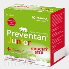 Farmax Preventan Junior + vitamín C ovocný mix, tbl 1x90 ks